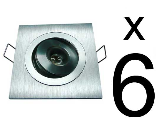 Paket 6st Downlights 3w 120Lm, 45°, dimbar converter